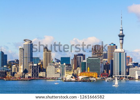 Landscape View to Auckland City from Stanley Point Bay, Devonport Auckland New Zealand