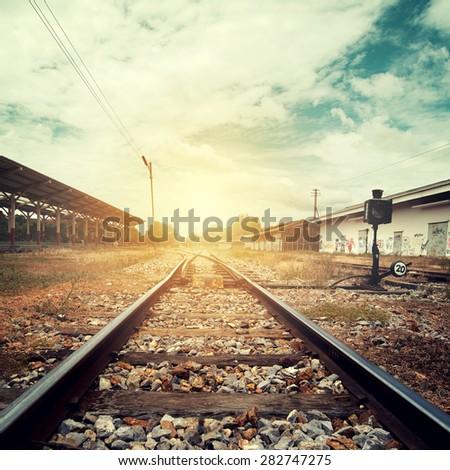 landscape vintage of railroad...