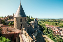 Landscape western walls and towers of Cite de Carcassonne.