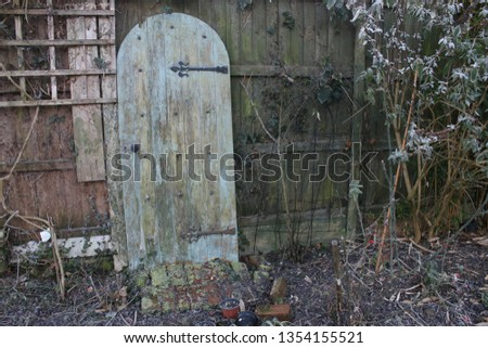 Landscape Winter frost garden view with ancient arch door in wood with metal iron fixtures against wooden fencing and trellis and white plants, tree, bleached frozen earth on cold icy day #1354155521