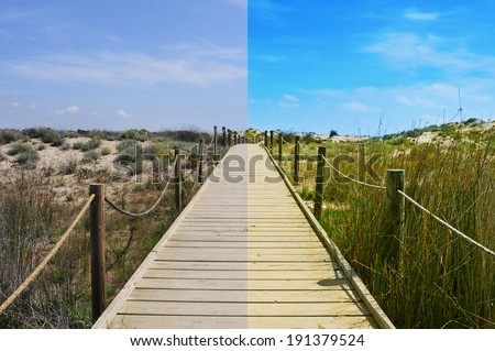 landscape with a broadwalk before and after the image editing process
