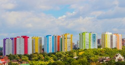 Landscape with a view of the area, built multi-storey colorful houses