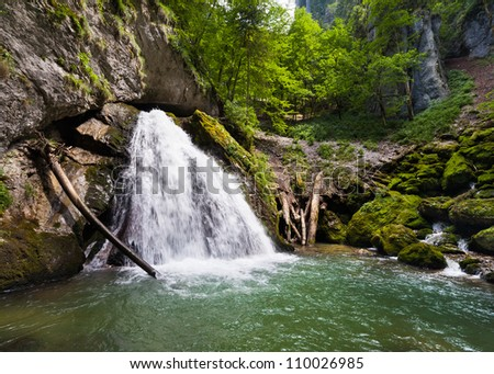 Landscape with a waterfall in a summer day