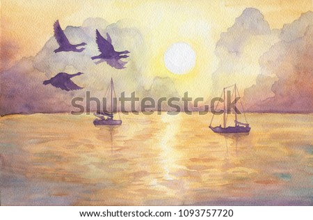 Landscape with a yacht and flying birds. View of sea, sun, cloudy sky at sunset. Watercolor hand drawn painting illustration.