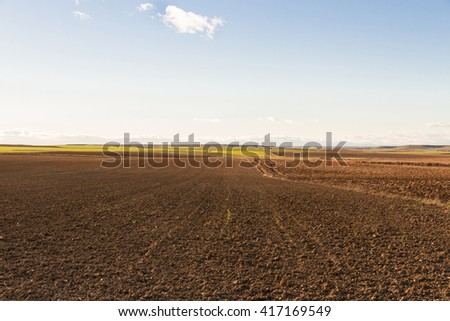 Landscape with agricultural land of plains, recently plowed and prepared for cultivation. With sunset light