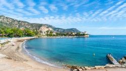 Landscape with amazing beach Baie des Fourmis, Beaulieu sur Mer,  Cote d'Azur, France