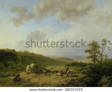 Landscape with an Approaching Rainstorm, by Barend Cornelis Koekkoek, 1825-29, oil on canvas. Picturesque shepherds in the foreground and idealized space link landscape to Romanticism.