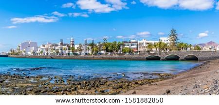 Landscape with Arrecife, capital of Lanzarote, Canary Islands, Spain Foto stock ©