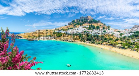 Landscape with beach and castle at Lindos village of  Rhodes, Greece Foto stock ©