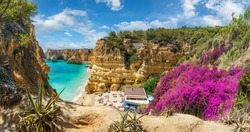 Landscape with beautiful Praia da Marinha, one of the most famous beaches of Portugal, located on the Atlantic coast in Lagoa, Algarve