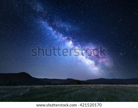 Landscape with blue Milky Way. Night sky with stars at mountains, Universe, beautiful mountain valley