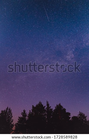 Landscape with blue Milky Way. Night sky with stars. Beautiful milky way taken in Ukraine during a clear night
