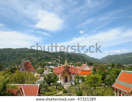 Landscape with Buddhist temples in Phuket island in Thailand