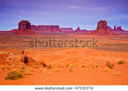 Landscape with Buttes in Monument Valley Tribal Park, Arizona.