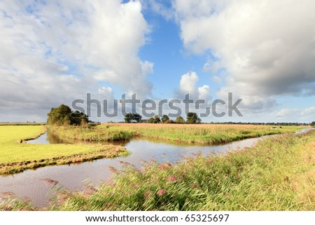 Landscape with canal under blue cloudy sky, the Netherlands