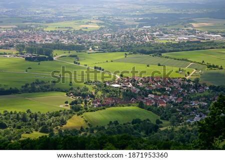 Landscape with cities on the Swabian Alb Imagine de stoc ©