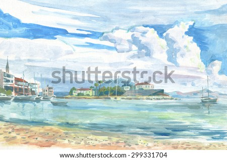 landscape with city, sea and sky paintings