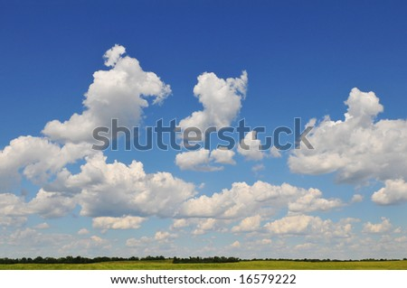 Landscape with clouds and blue sky on a sunny day