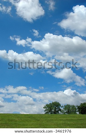 Landscape with clouds and trees