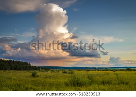 landscape with colorful storm clouds #518230513