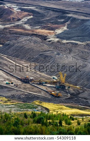 Landscape with extractive industry in Czech republic - stock photo