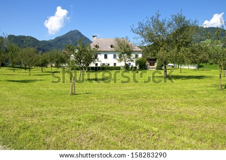 Landscape with Farmhouse in the river Enns valley in Austria. The Enns valley is one of the most beautiful Landscapes in Upper Austria. The Farmhouse stands in Grossraming. A small village near Steyr