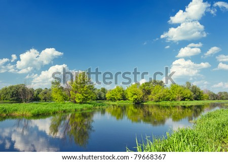 Landscape with flood waters of Narew river in Poland.