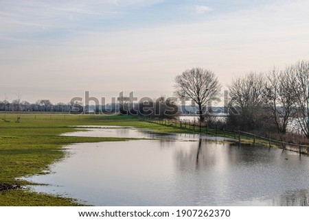 Landscape with flooded river Maas in Bergen - Noord Limburg, the Netherlands Stockfoto ©