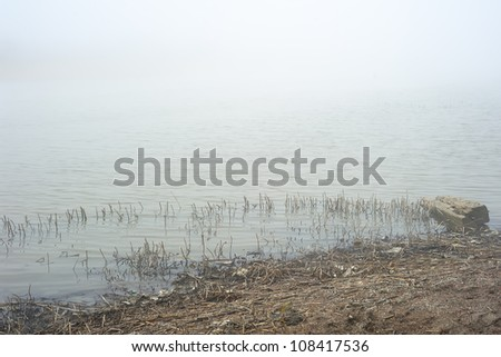 Landscape with fog over lake