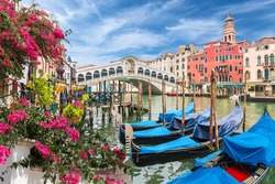 Landscape with gondola on Grand Canal, Venice, Italy