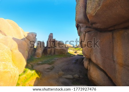 Landscape with granite blocks on the Path of Customs Officers .Perros-girek, France