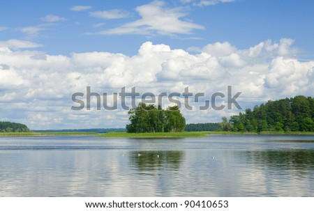 Landscape with grass, trees and fluffy clouds reflecting in water surface of lake