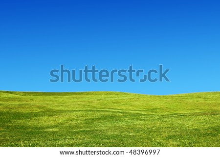 Landscape with grassy hills and a clear sky