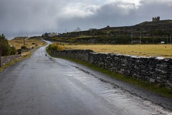 Landscape with grey, wet road going up hill, stonewall, mustard color grass, grey sky, castle ruins on the hill on an overcast autumn day on Inisheer island, the smallest of Aran islands.