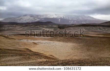 Landscape with Hekla volcano and dramatic clouds. Southern Iceland.