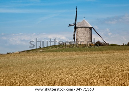 Landscape with historic Windmill in Normandy France Europe