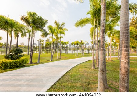 Landscape with jogging track at green park #441054052