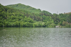 landscape with lake and forest
