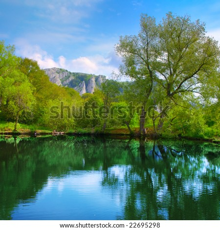 Landscape with lake, forest, mountain and blue sky - stock photo