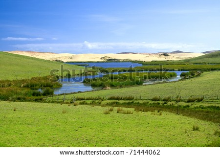 Landscape with lake, green grass and blue sky. Photo was taken in New Zealand
