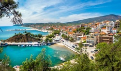 Landscape with Limenaria city and harbour at Thassos island, Greece