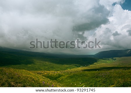 landscape with low clouds bad weather