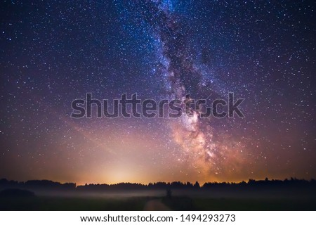 Landscape with Milky way galaxy in Lithuania Stockfoto ©