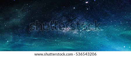 Landscape with Milky way galaxy. Night sky with stars. #536543206