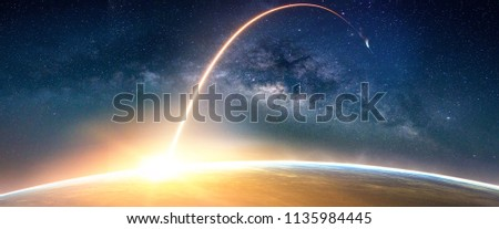 Landscape with Milky way galaxy. Sunrise and Earth view from space with Milky way galaxy. (Elements of this image furnished by NASA) #1135984445