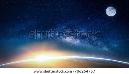 Landscape with Milky way galaxy. Sunrise and Earth view from space with Milky way galaxy. (Elements of this image furnished by NASA) #786264757