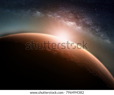 Landscape with Milky way galaxy. Sunrise and Planet view from space with Milky way galaxy. (Elements of this image furnished by NASA) #796494382