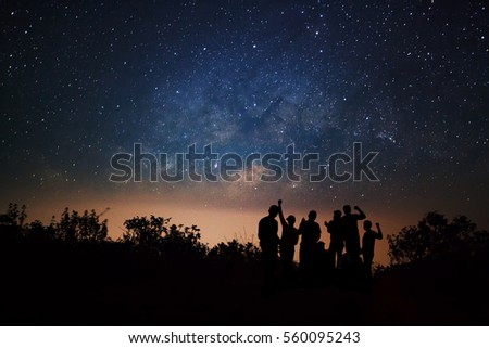 landscape with milky way  night ...