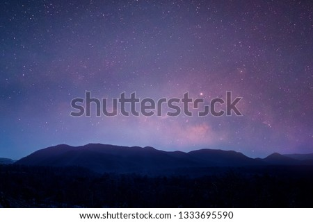 Landscape with Milky Way. Night sky with stars on the mountain