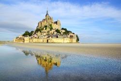 Landscape with Mont Saint Michel abbey. Normandy, France.